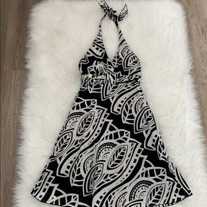 Beautiful black and white patterned halter dress